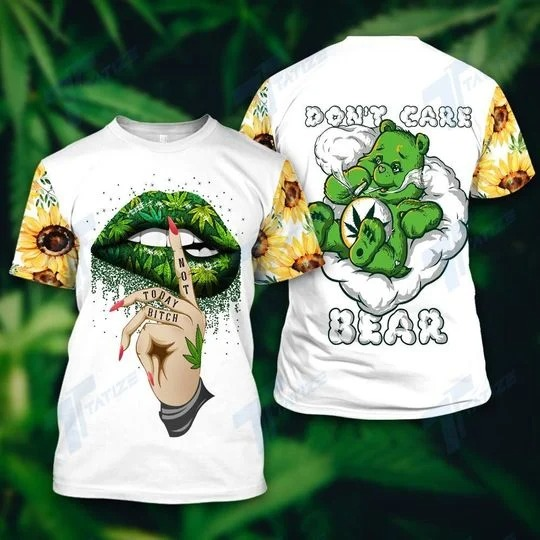 Weed don't care bear 3d hoodie and legging 2