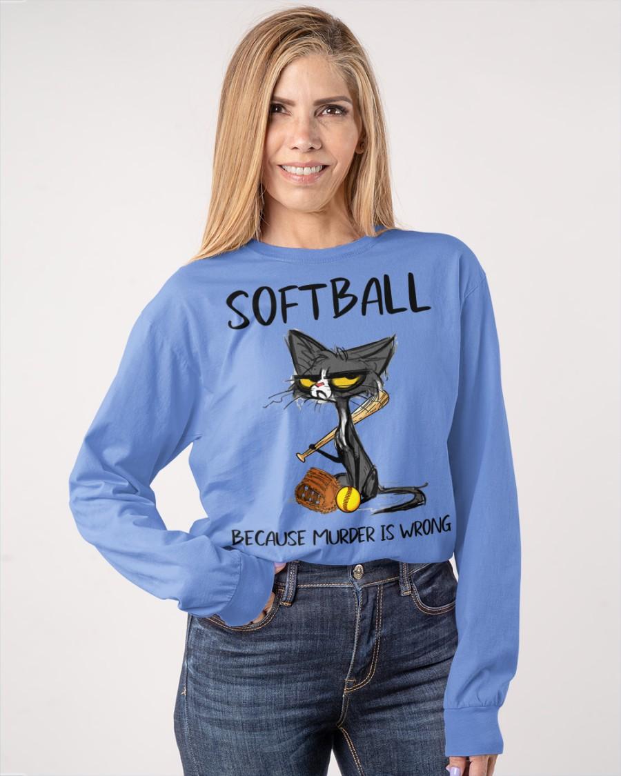 Cat Softball because murder is wrong Shirt 13