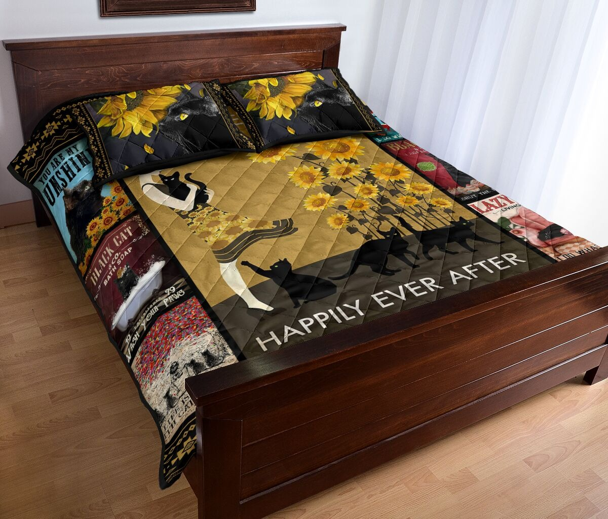 And she lived happily ever after with black cat quilt bedding set 9
