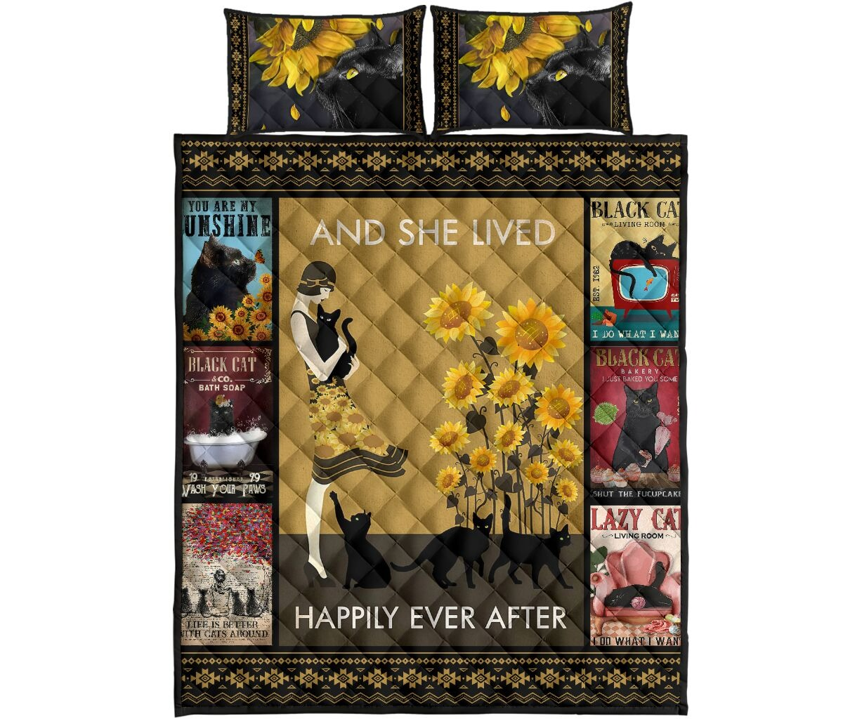 And she lived happily ever after with black cat quilt bedding set 11