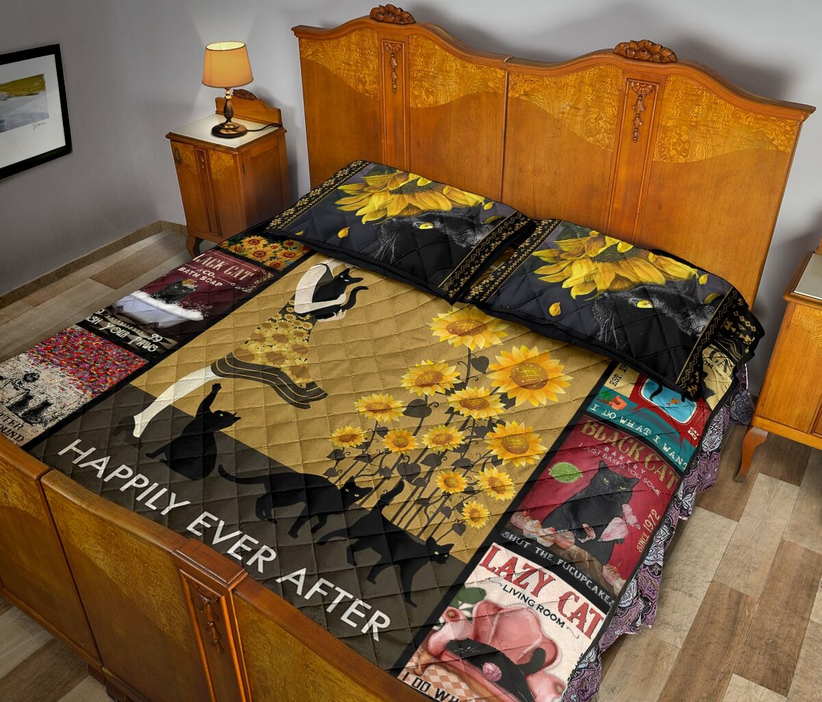 And she lived happily ever after with black cat quilt bedding set 10