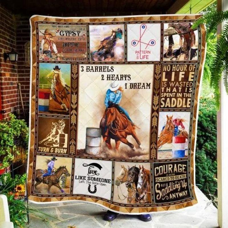 Barrels Racing 3 barrels 2 hearts 1 dream quilt blanket 9