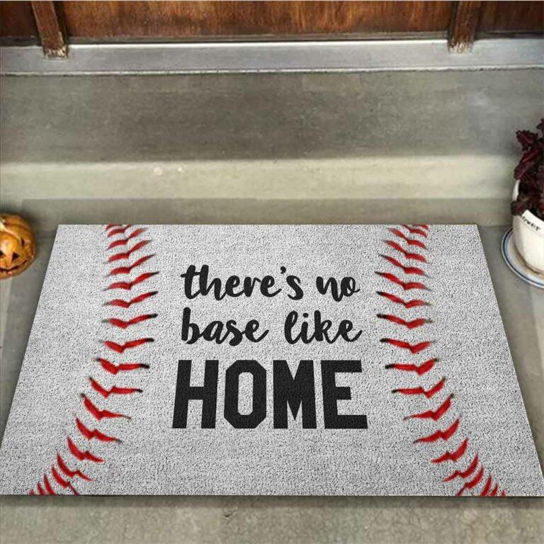 Baseball There's no base like home doormat 7