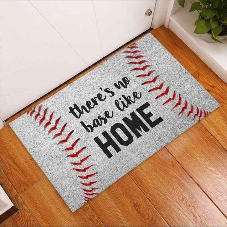 Baseball There's no base like home doormat 9