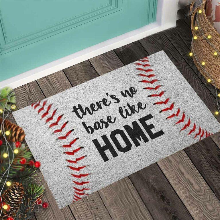 Baseball There's no base like home doormat 8