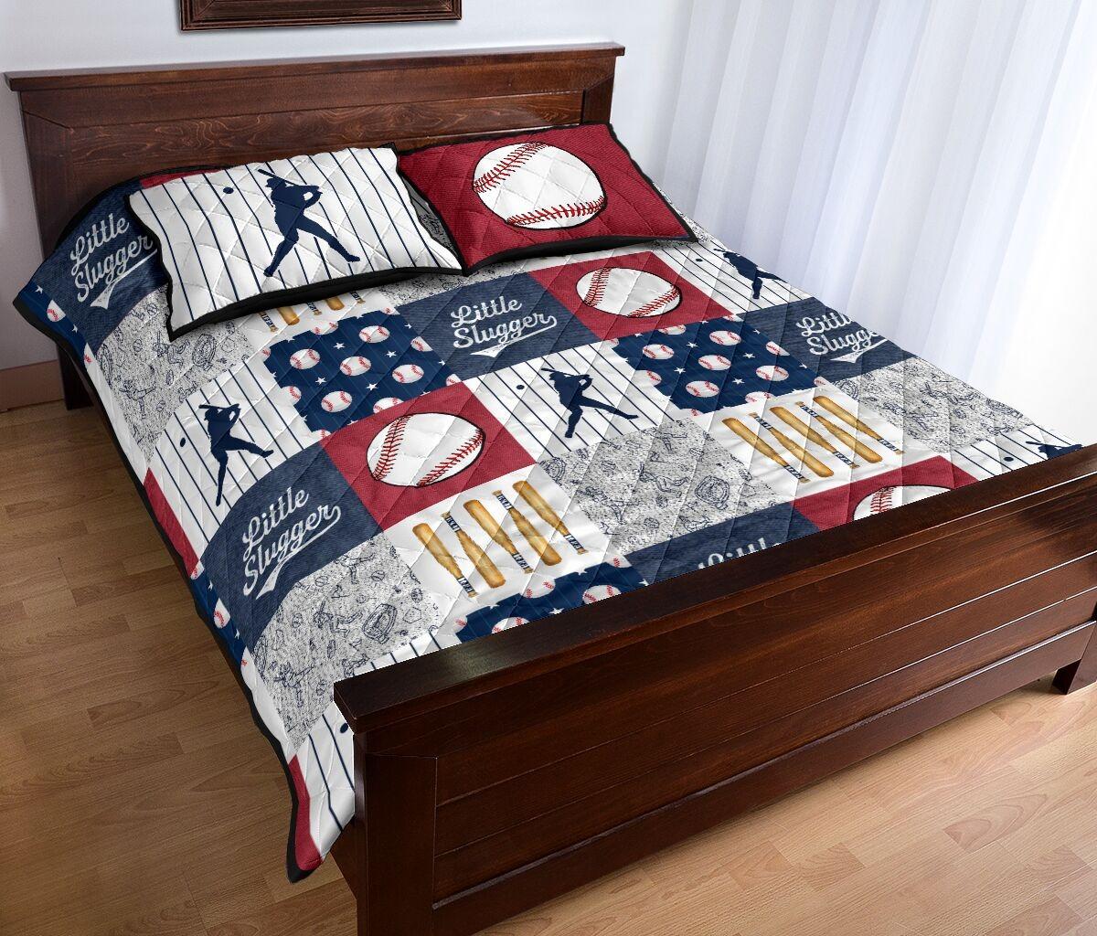 Baseball little slugger quilt bedding set 11