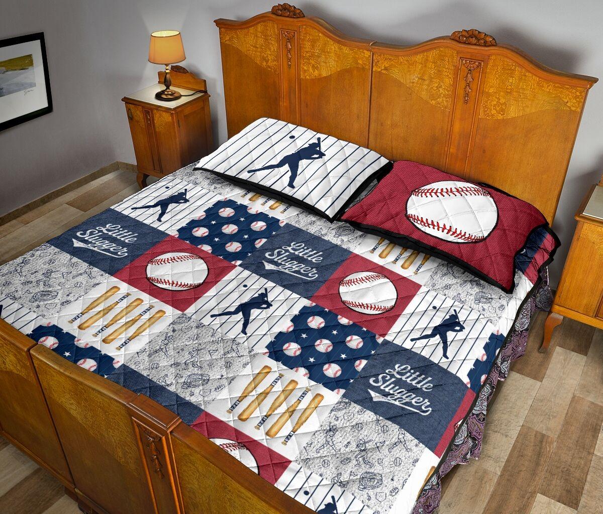 Baseball little slugger quilt bedding set 10