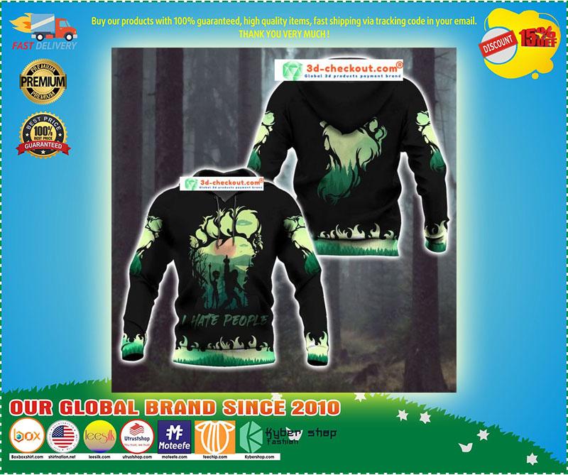 Bigfoot and Alien I Hate people green 3d hoodie 9