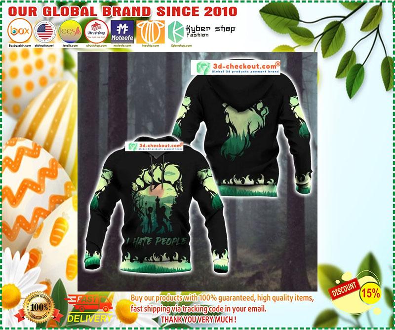 Bigfoot and Alien I Hate people green 3d hoodie 10