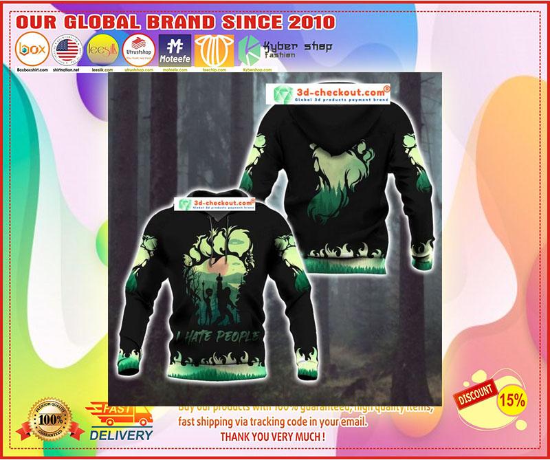 Bigfoot and Alien I Hate people green 3d hoodie 11