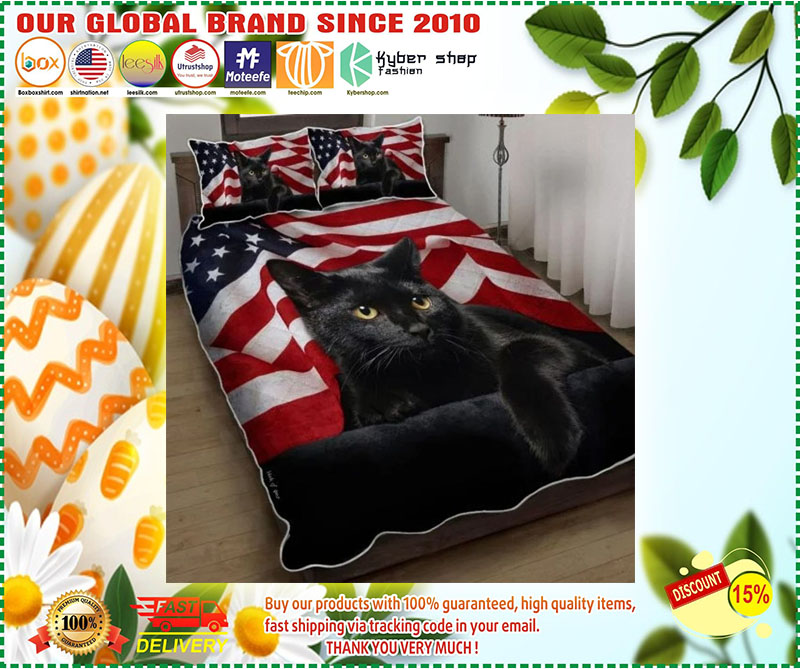 Black cat American flag quilt bedding set 9
