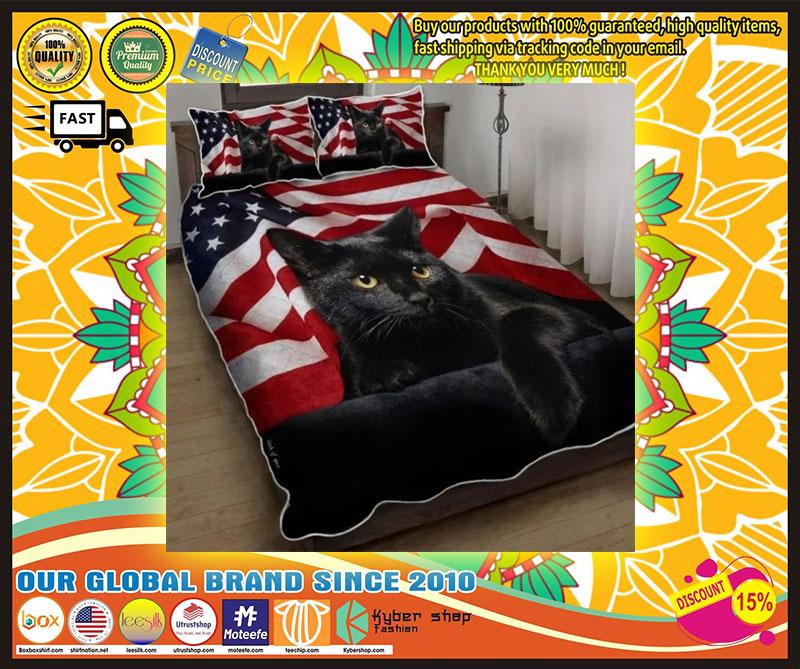 Black cat American flag quilt bedding set 10