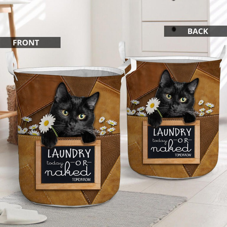 Black cat today or naked tomorrow basket laundry 7