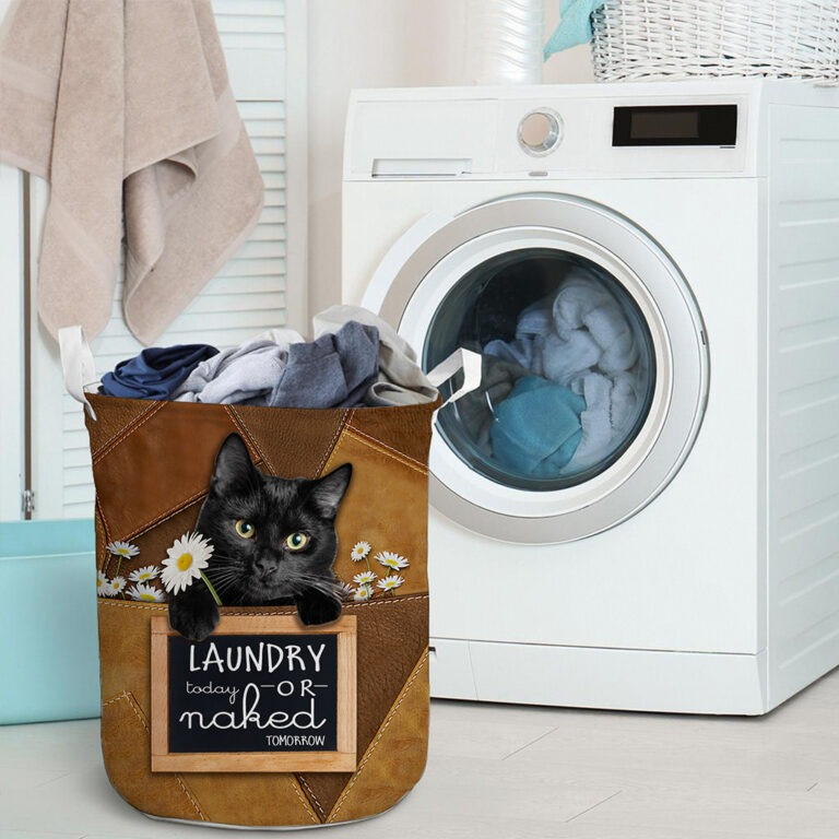 Black cat today or naked tomorrow basket laundry 9