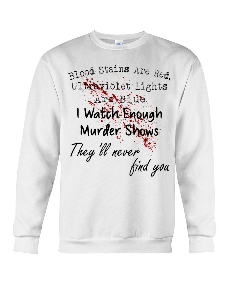 Blood stains are red Ulltraviolet lights are blue Shirt 11