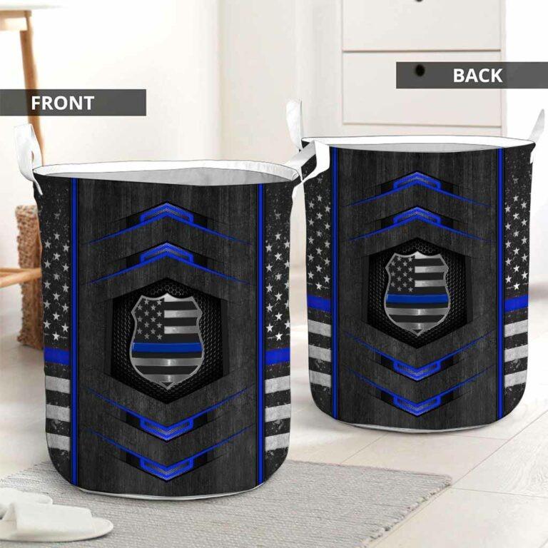 Blue line police basket laundry 9