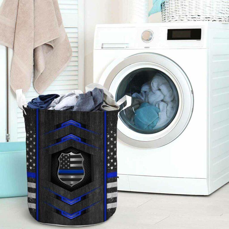 Blue line police basket laundry 7