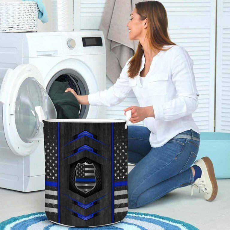 Blue line police basket laundry 8