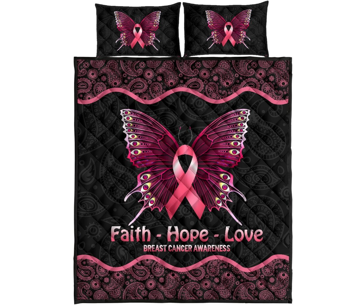 Butterfly faith hope love breast cancer awareness quilt bedding set 10