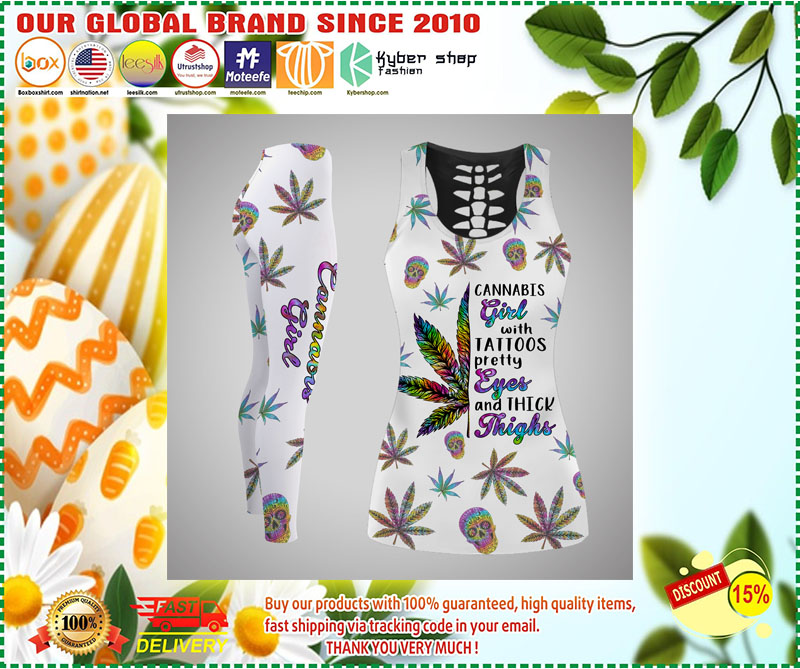 Cannabis girl with tattoos tank top and legging 11