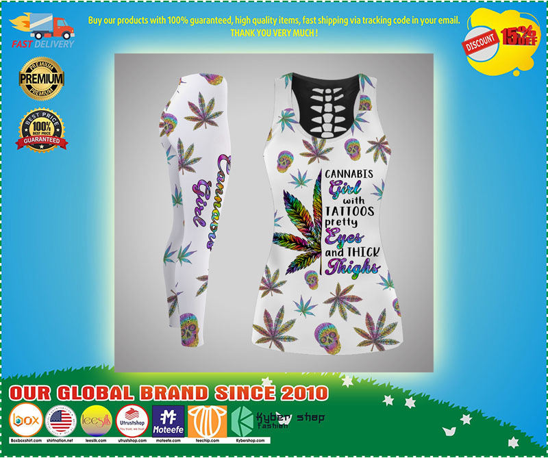 Cannabis girl with tattoos tank top and legging 10