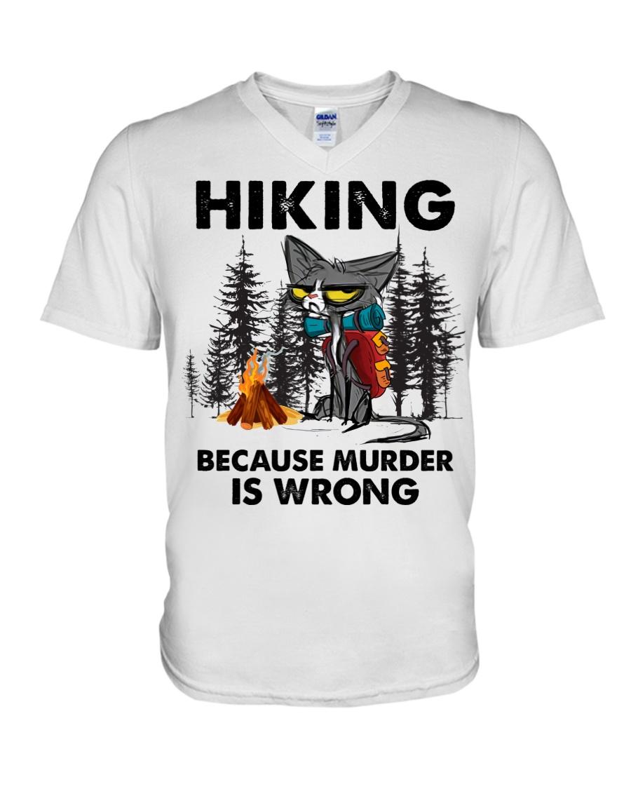 Cat Hiking Because Murder Is Wrong Shirt 12