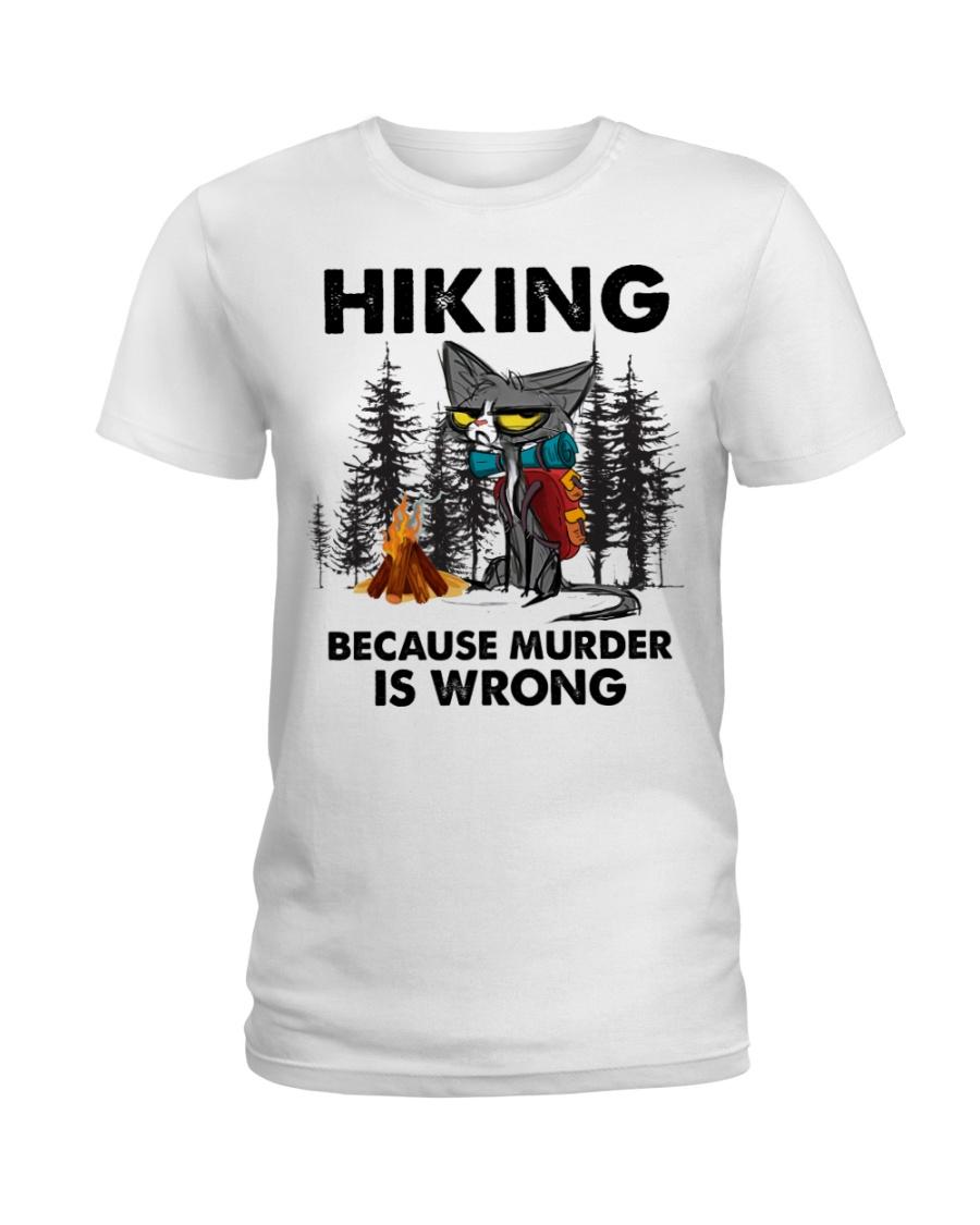 Cat Hiking Because Murder Is Wrong Shirt 11