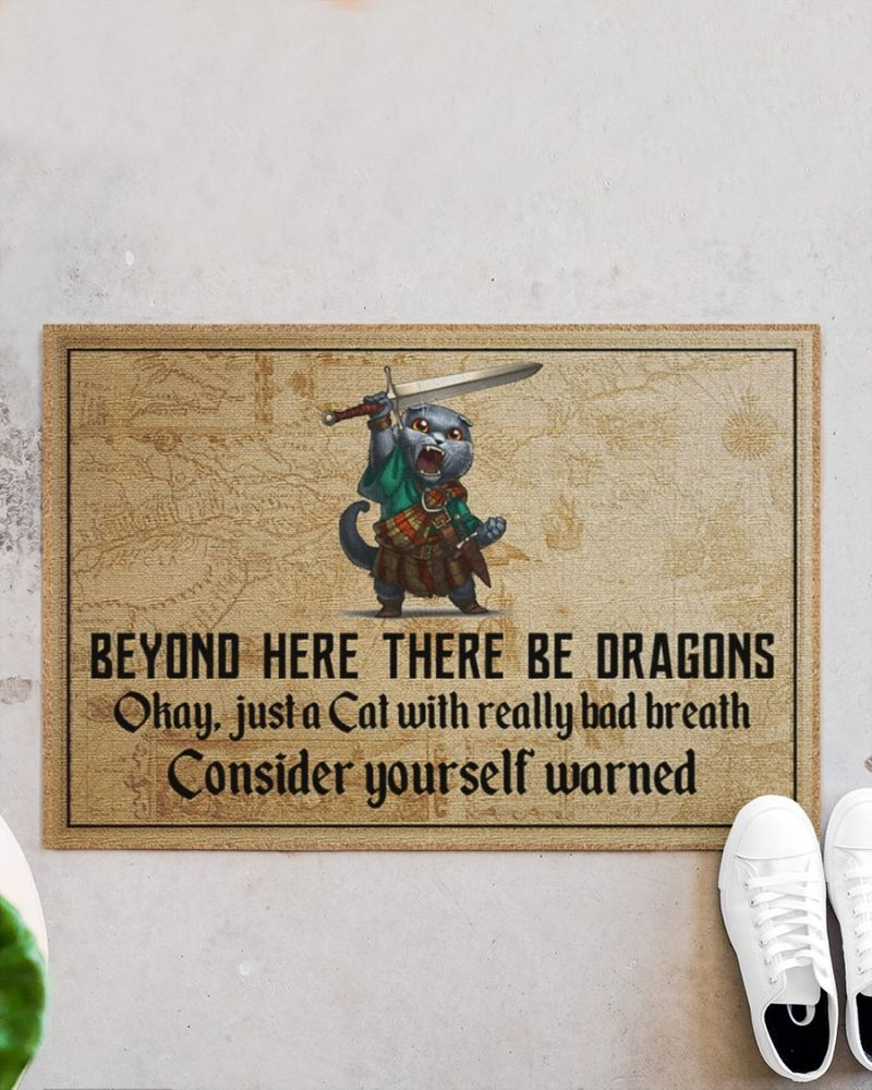 Cat beyond here there be dragons doormat 11