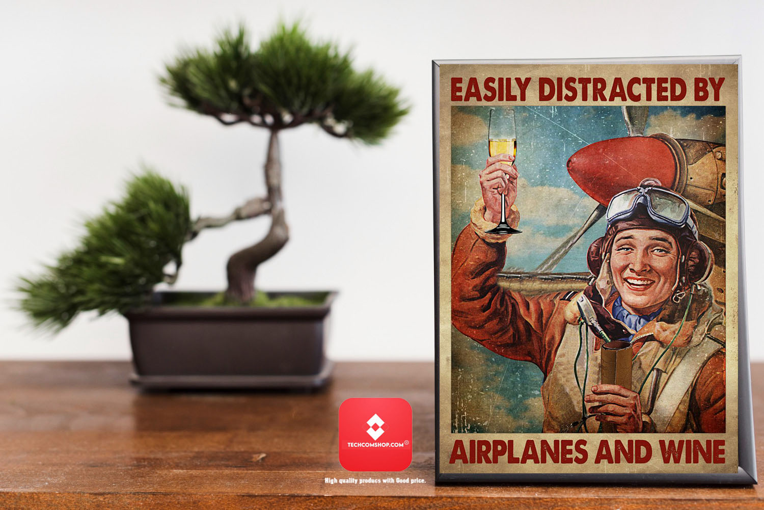 Easily distracted by airplanes and wine poster 8