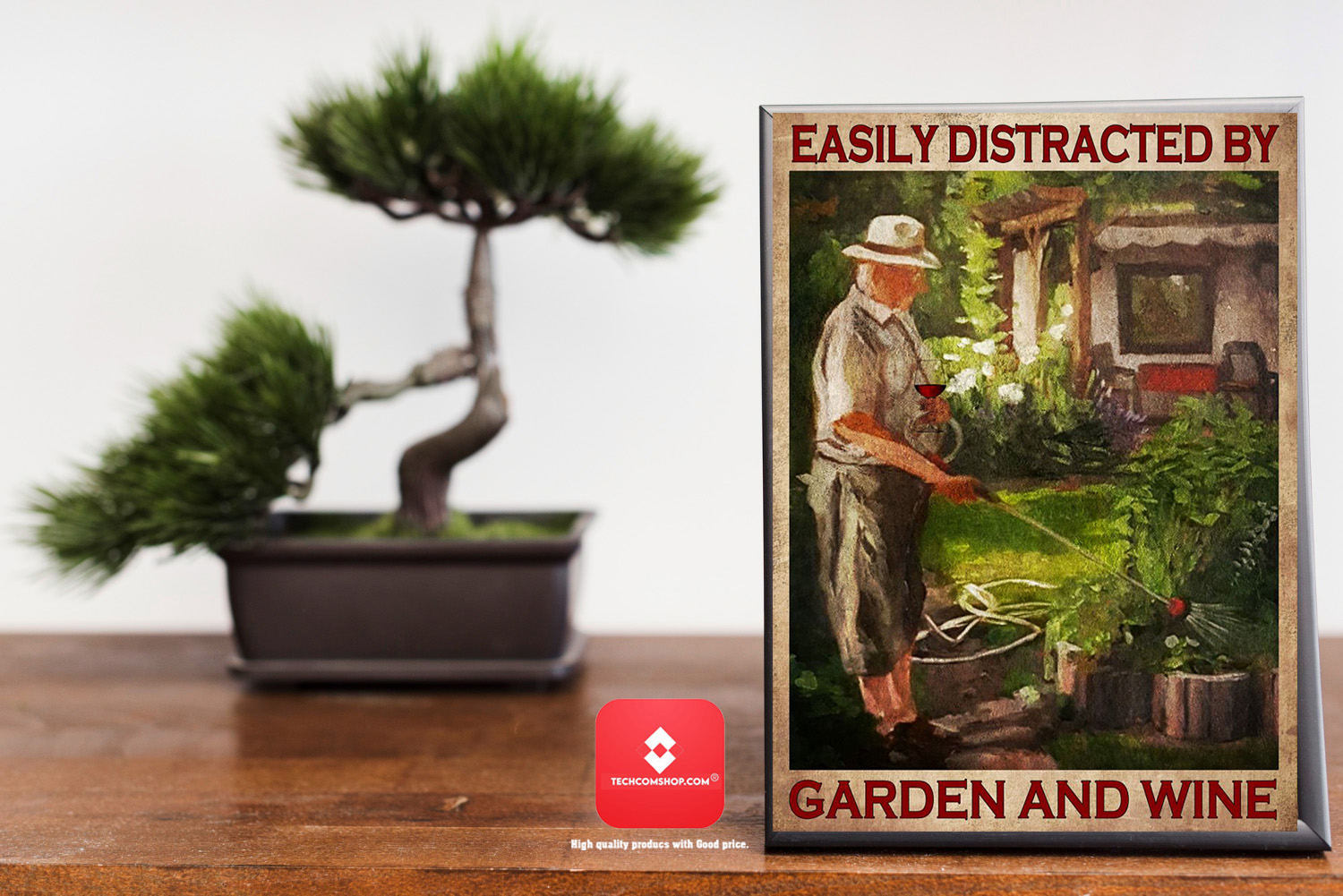 Easily distracted by garden and wine poster 7