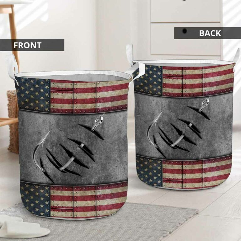Fishing American flag basket laundry 7