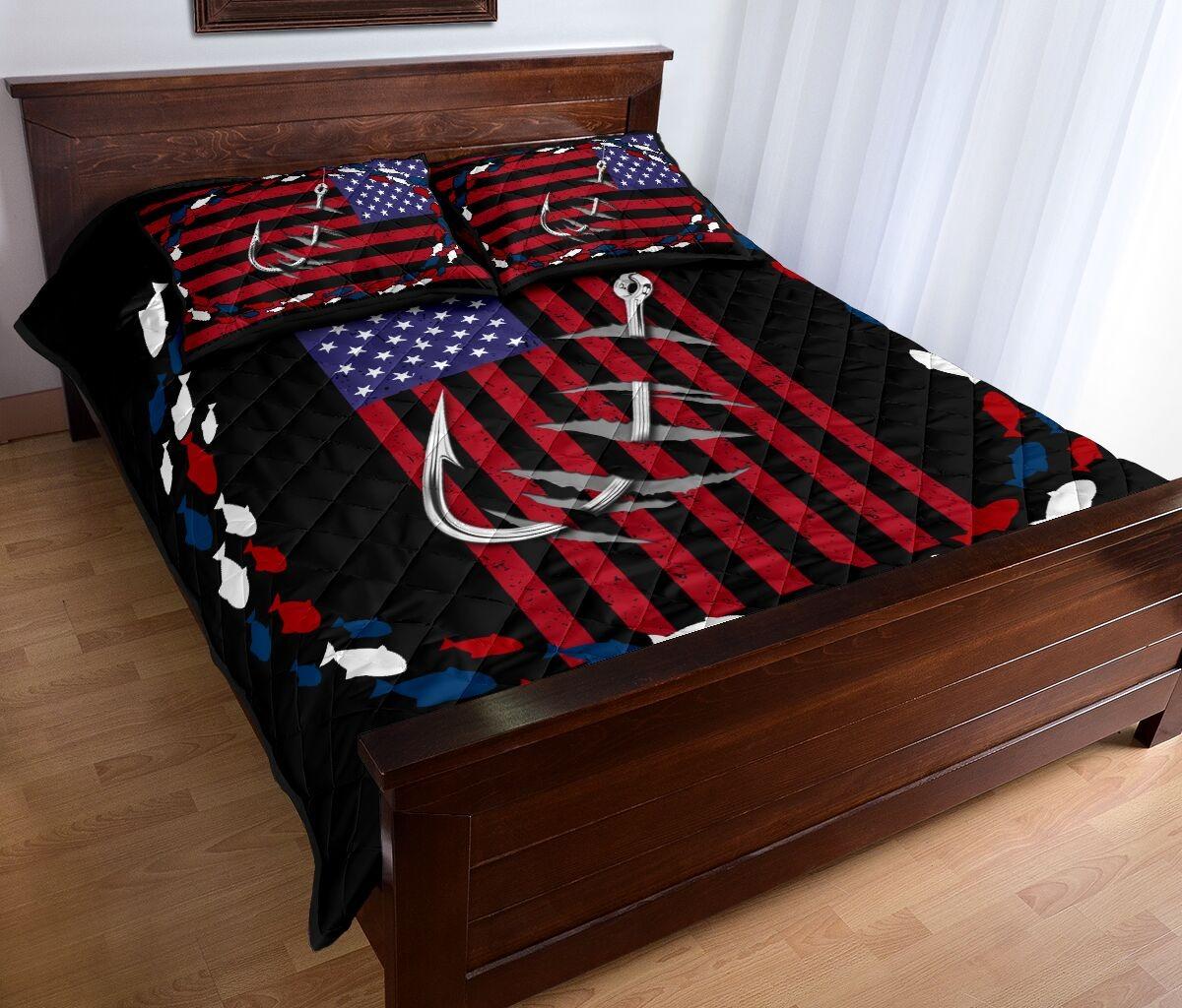 Fishing america quilt bedding set 10