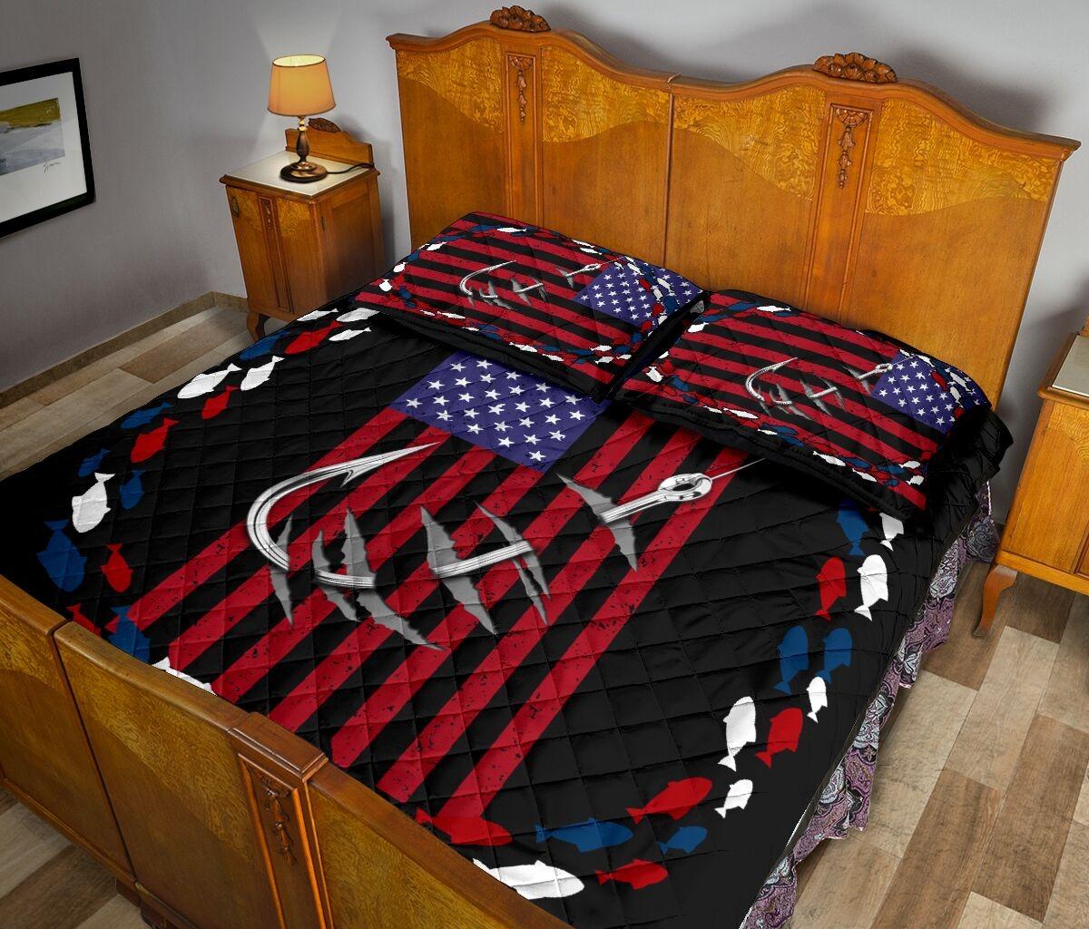 Fishing america quilt bedding set 11