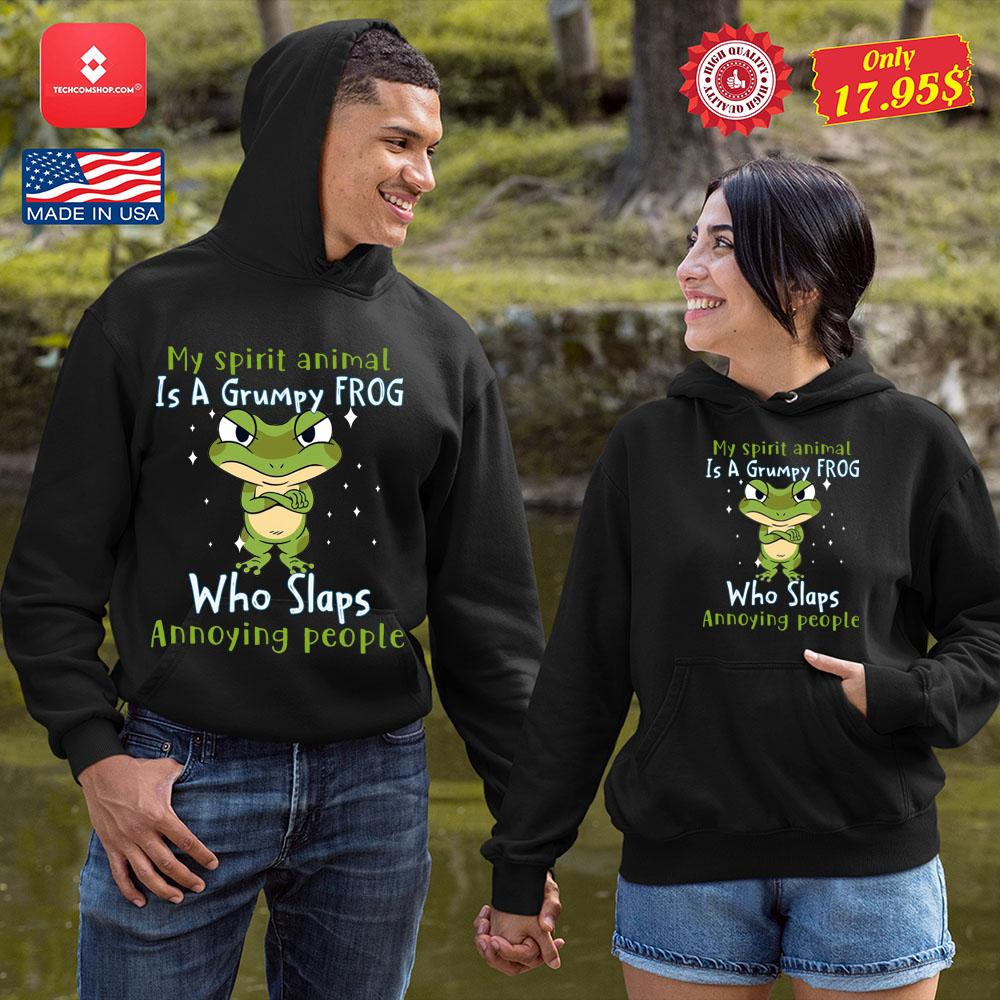 Frog My Spirit Animal Is A Grumpy Frog Who Slaps Annoying People Shirt 8