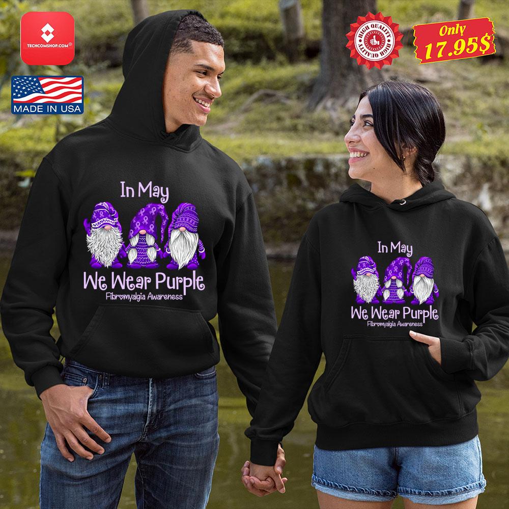 Gnomes In may we wear purple for fibromyalgia awareness shirt 8