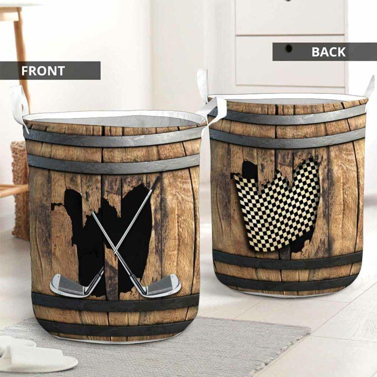 Golf faux wood print basket laundry 7