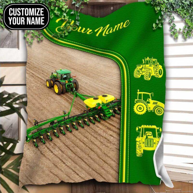 Green tractor farmer custom name blanket 9