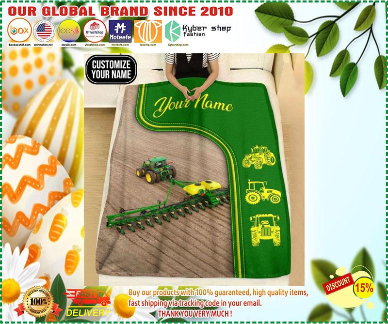 Green tractor farmer custom name blanket 10