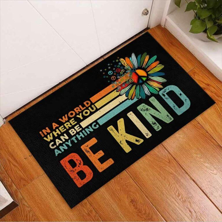 Hippie In a world where you can be anything be kind doormat 9