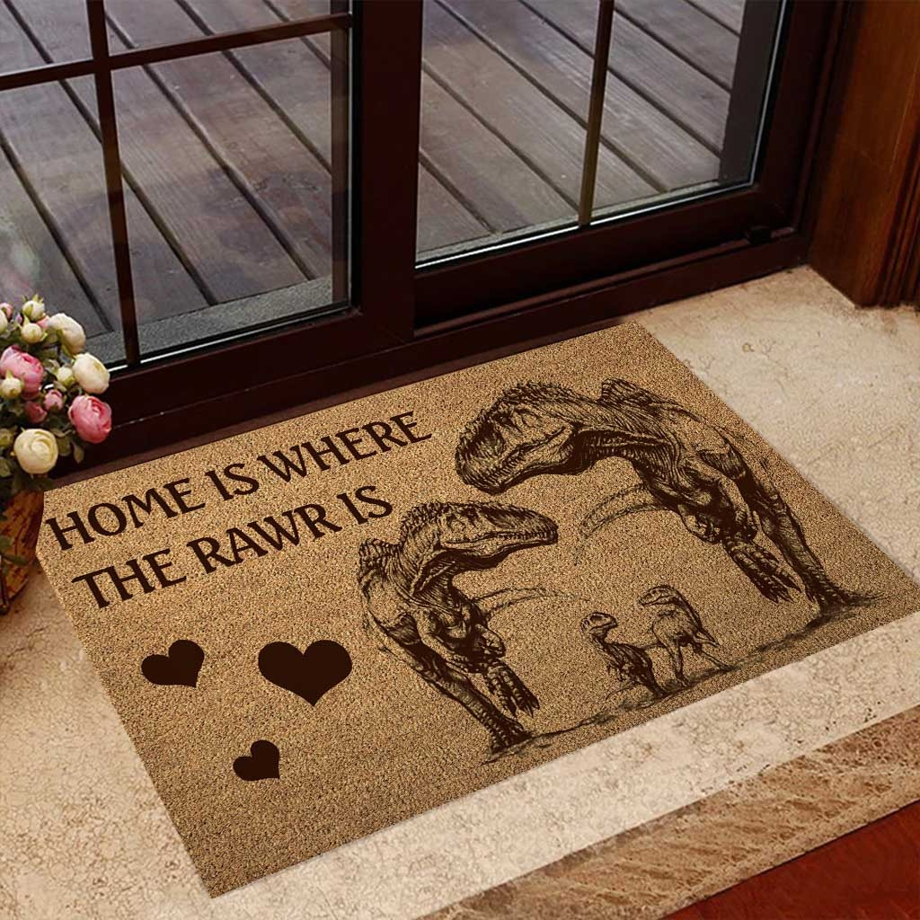 Home is where the rawr is dinosaur doormat 7