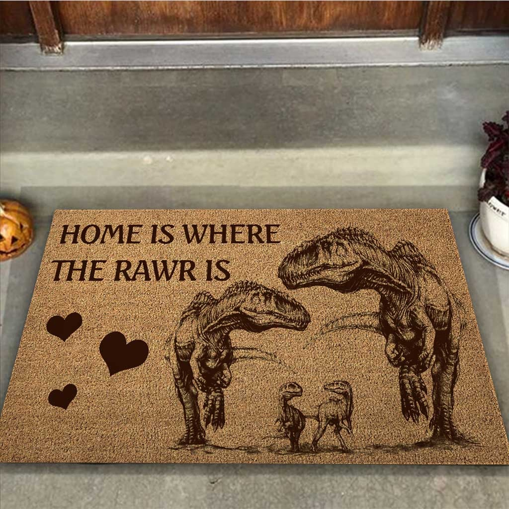 Home is where the rawr is dinosaur doormat 9