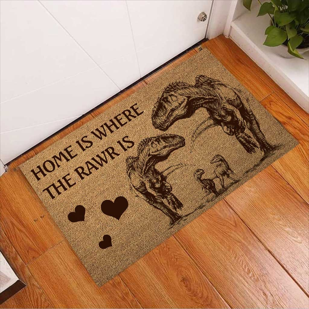 Home is where the rawr is dinosaur doormat 8