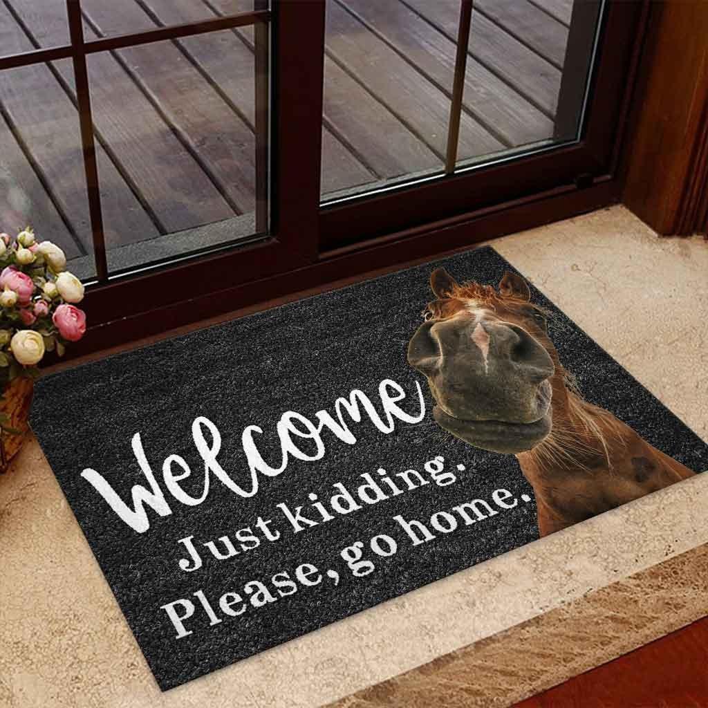 Horse welcome just kidding please go home doormat 7