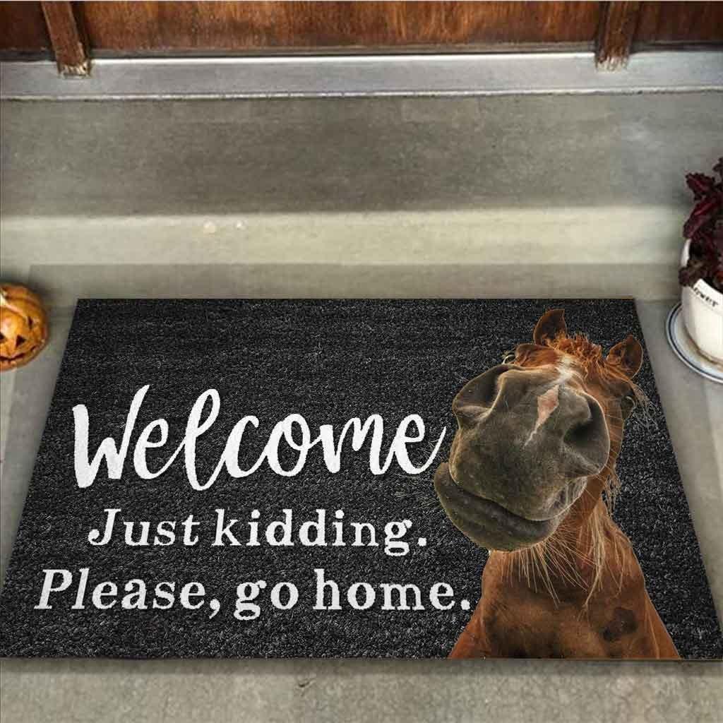 Horse welcome just kidding please go home doormat 9