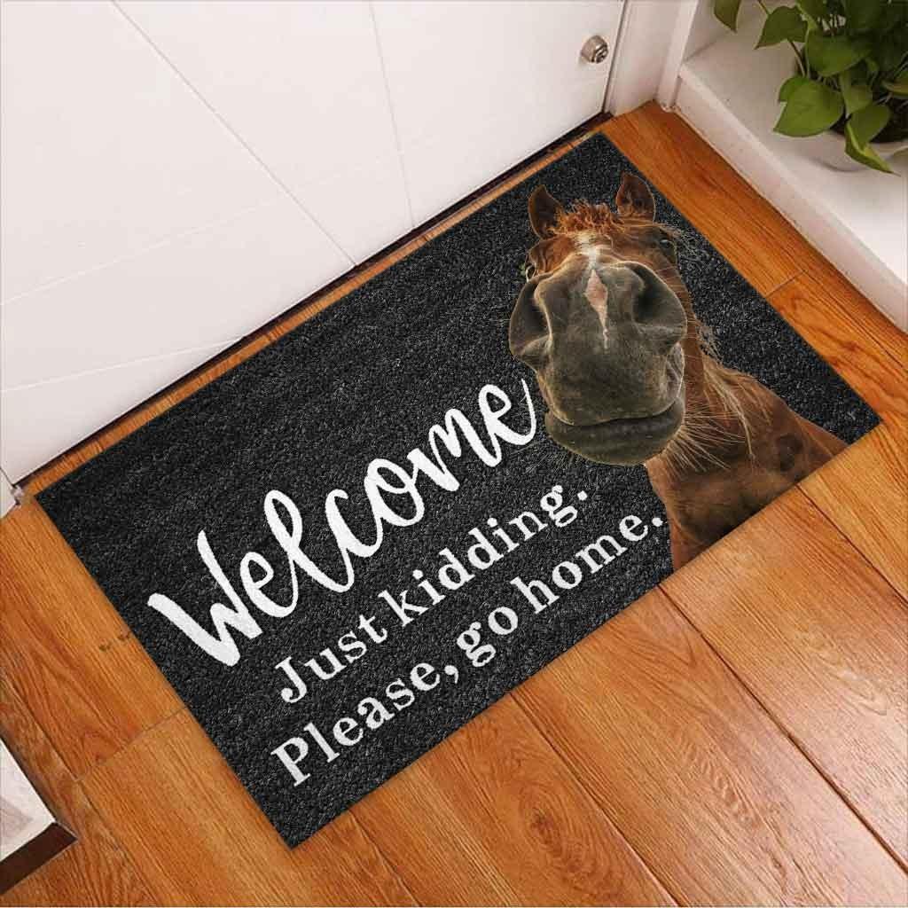 Horse welcome just kidding please go home doormat 8