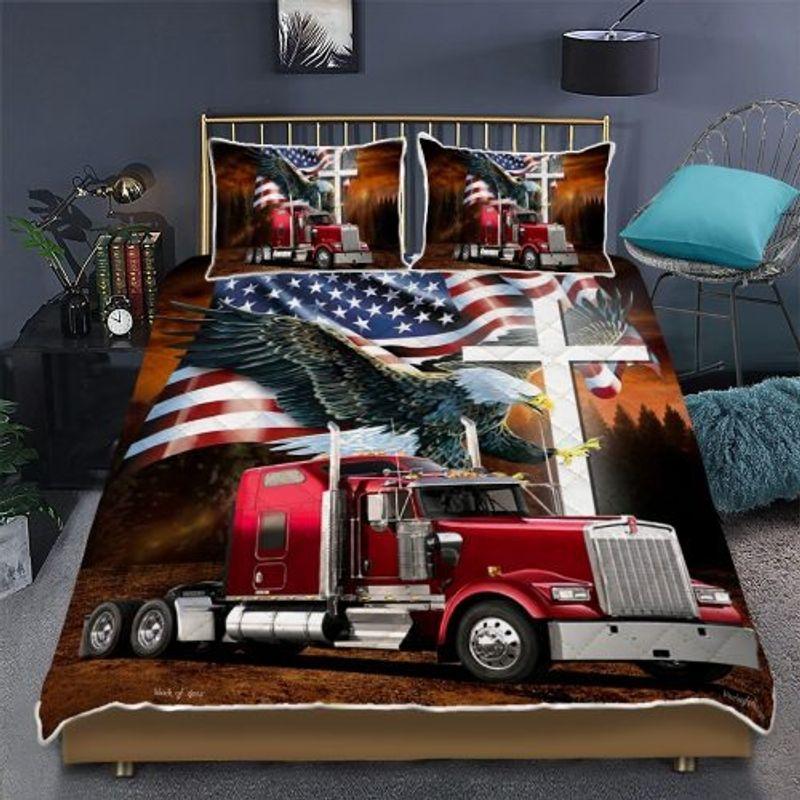 Jesus American eagle trucker quilt bedding set 10