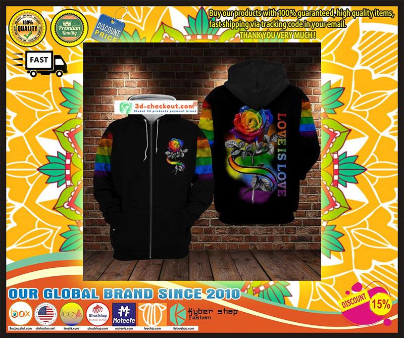 LGBT rose love is love 3D hoodie 9