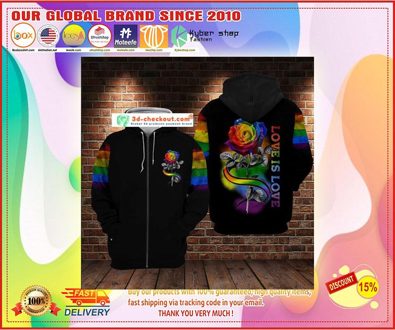 LGBT rose love is love 3D hoodie 10