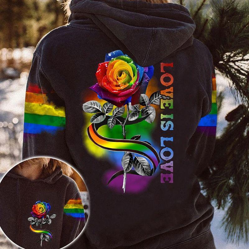 LGBT rose love is love 3D hoodie 11