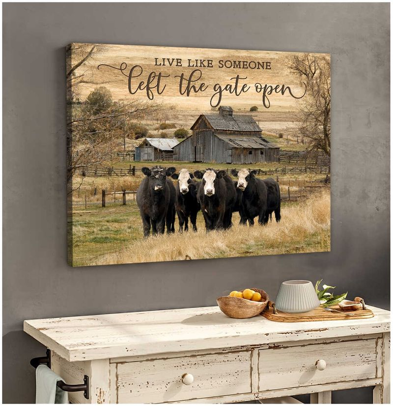 Live like someone left the gate open cow wall art 10